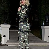 Maria Menounos showed off her assets in a skintight army suit while making her way into a Halloween party in 2014.