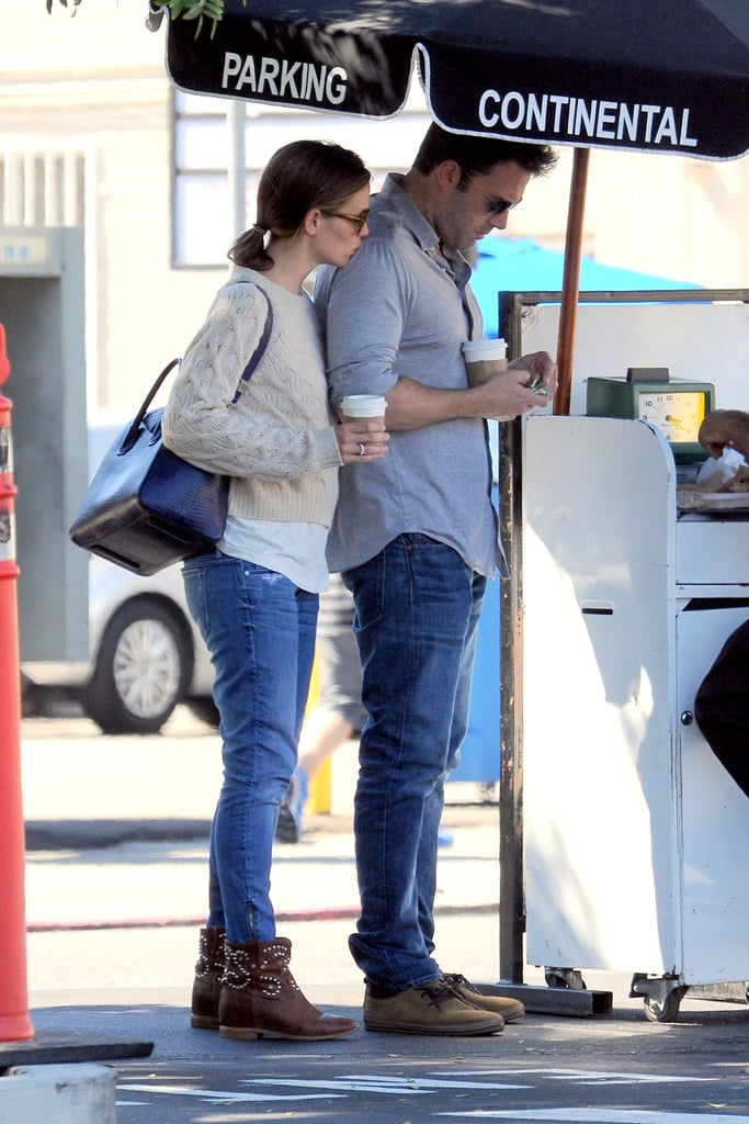 Jennifer Garner stuck close to her husband, Ben Affleck, as they left the Tavern restaurant in LA on Saturday. She planted a sweet kiss on Ben's shoulder as they sipped coffee and waited for their car. The couple's cute lunch outing could be a continued celebration of Ben's birthday — the actor turned 41 last week, and we commemorated the big day with a look at his most memorable photos with Jen. While Jen has been busy filming Imagine with a fake baby bump, she's still making sure to devote time to her family. She and Ben brought their kids, Violet and Samuel, to the farmers market last weekend, and Jen was spotted taking Seraphina to her ballet class several times throughout the week. In addition to bonding with his brood, Ben has been doing his best to help out a friend — he reportedly paid a visit to Lindsay Lohan while she was in rehab recently and offered his advice and support.