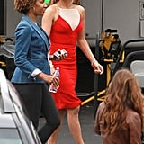 Jennifer Lopez looked gorgeous on the set of American Idol in a red fitted dress.