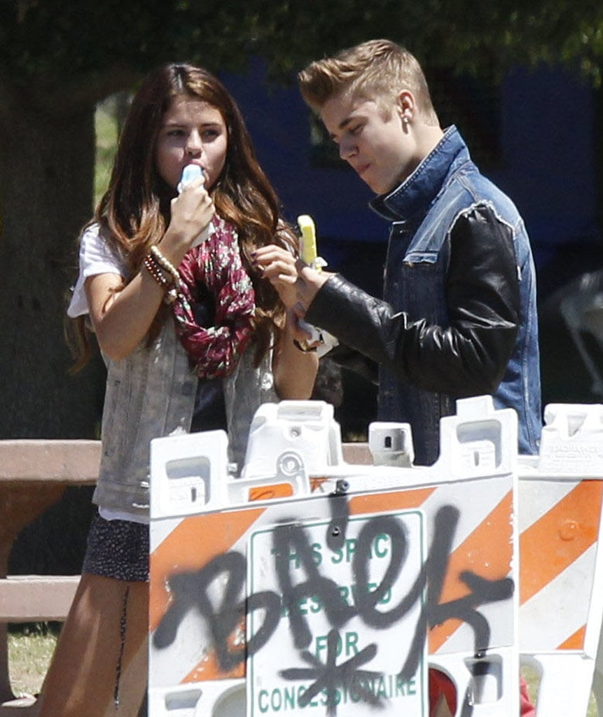 Justin Bieber and Selena Gomez cooled off with some ice cream on a hot LA day in July.