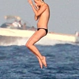 Kate Moss jumped into the ocean.
