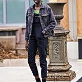 Style a Pair of Denim Overalls With a Denim Jacket