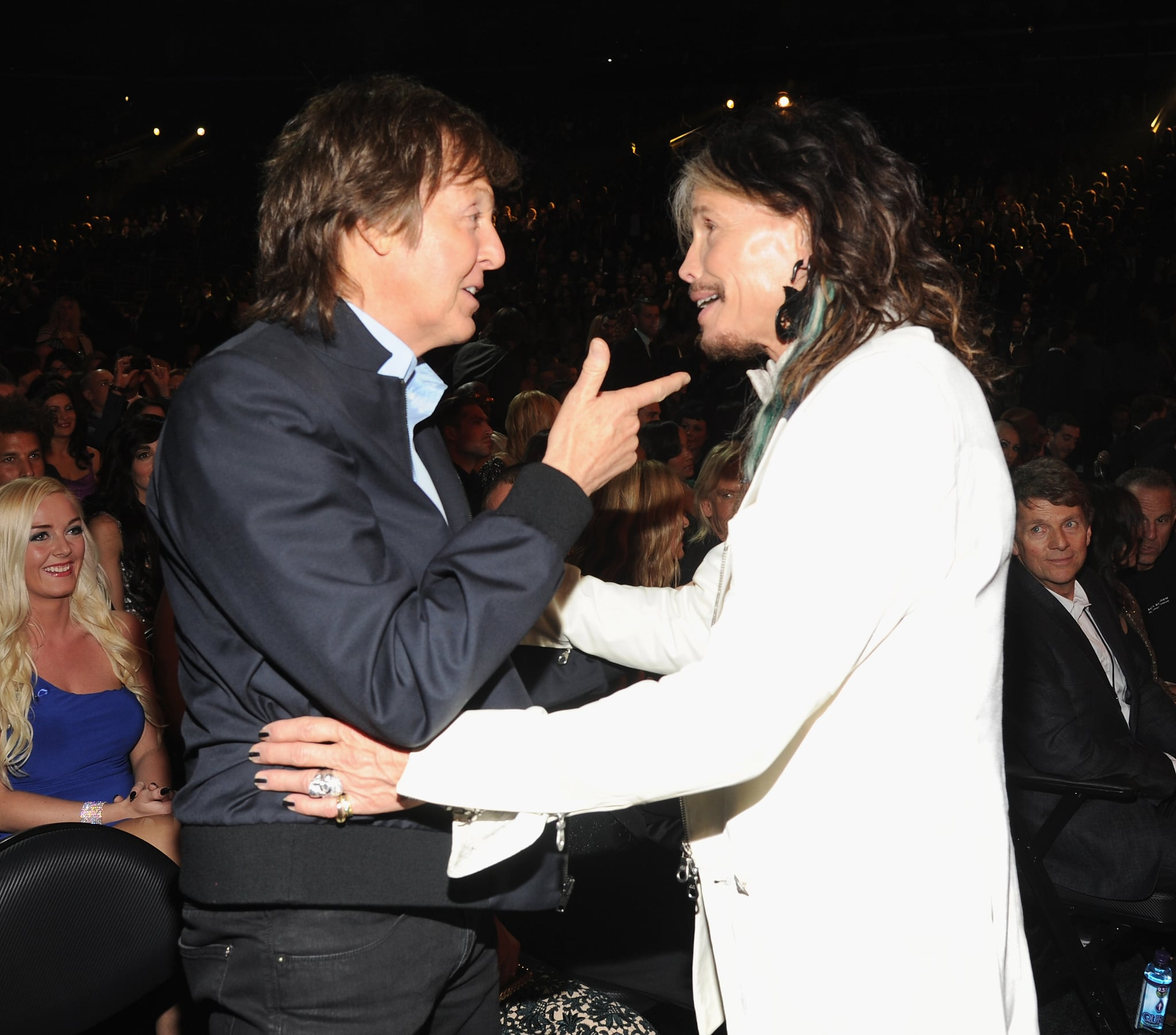 Paul McCartney chatted with Steven Tyler during a commercial break.