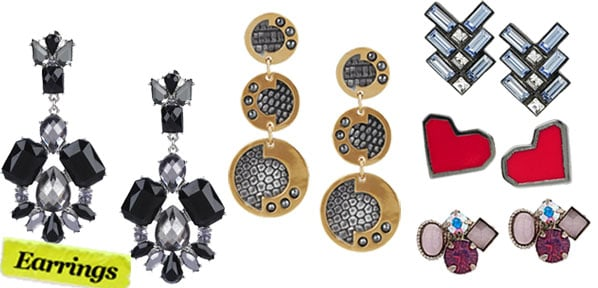 Forever 21 Lux Beaded Earrings ($6), Kara by Kara Ross Lizard Earrings ($295), Giles & Brother Gunmeta Swarovski Crystal Earrings ($115), Marc by Marc Jacobs Lovebird Earrings ($42), Sorrelli Four Stone Stud Earrings ($63)