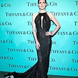 Hilary Rhoda wore Donna Karan at Tiffany & Co.'s Blue Book Ball in New York. Source: Will Ragozzino/BFAnyc.com