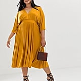 Pleated Slinky Kimono Midi Dress