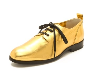We love that these Jil Sander Gold Lace-Up Oxfords ($375) have contrasting black laces.