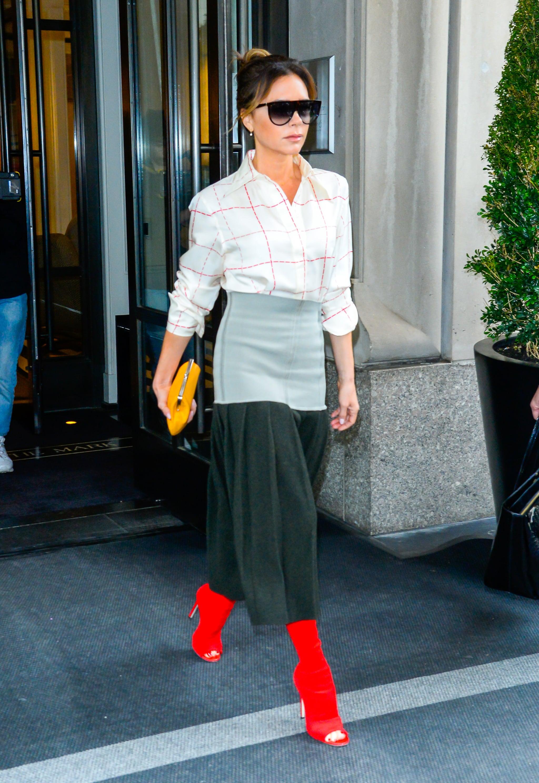 Victoria Beckham's Red Boots   POPSUGAR