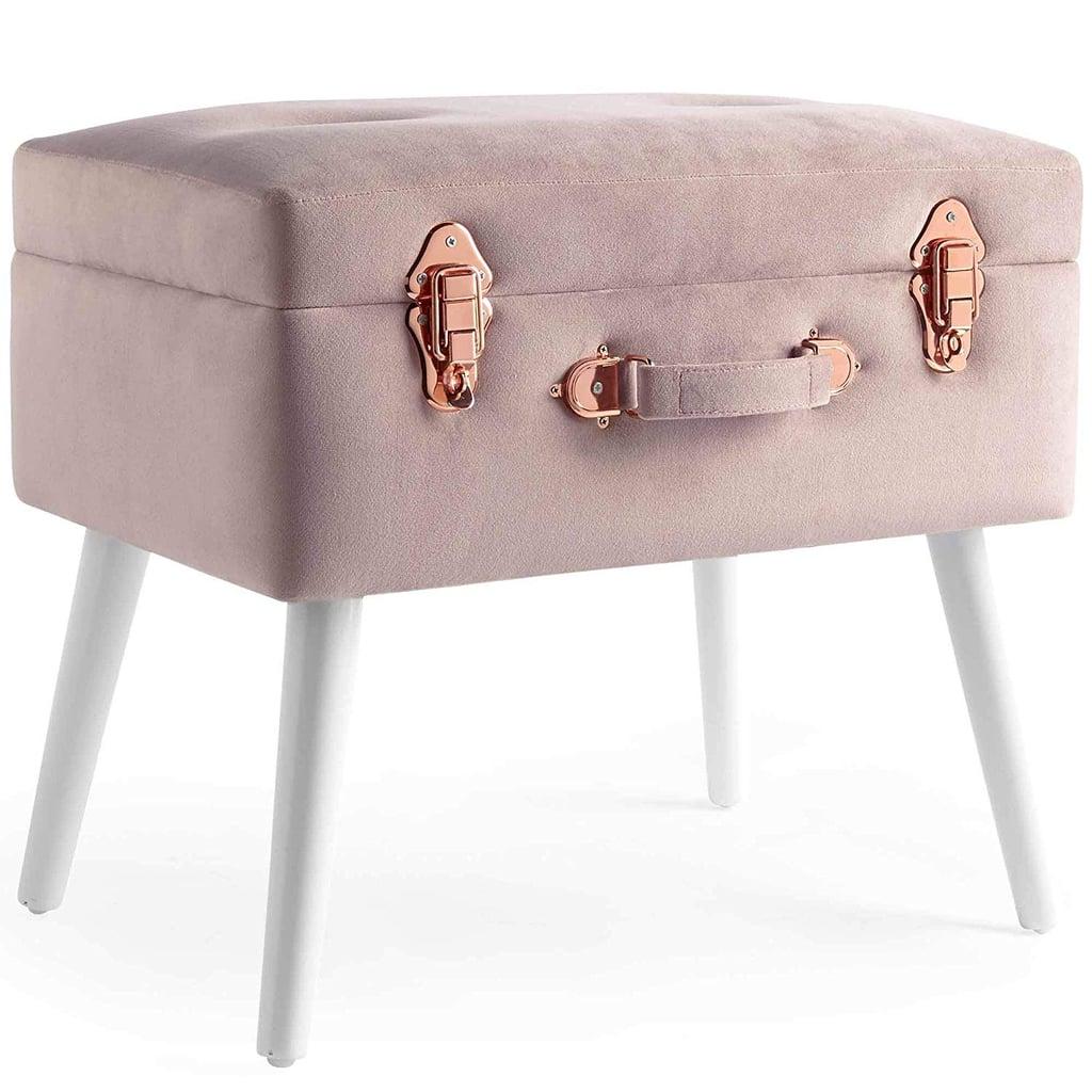 Pink Velvet Storage Stool With Rose Gold Hardware