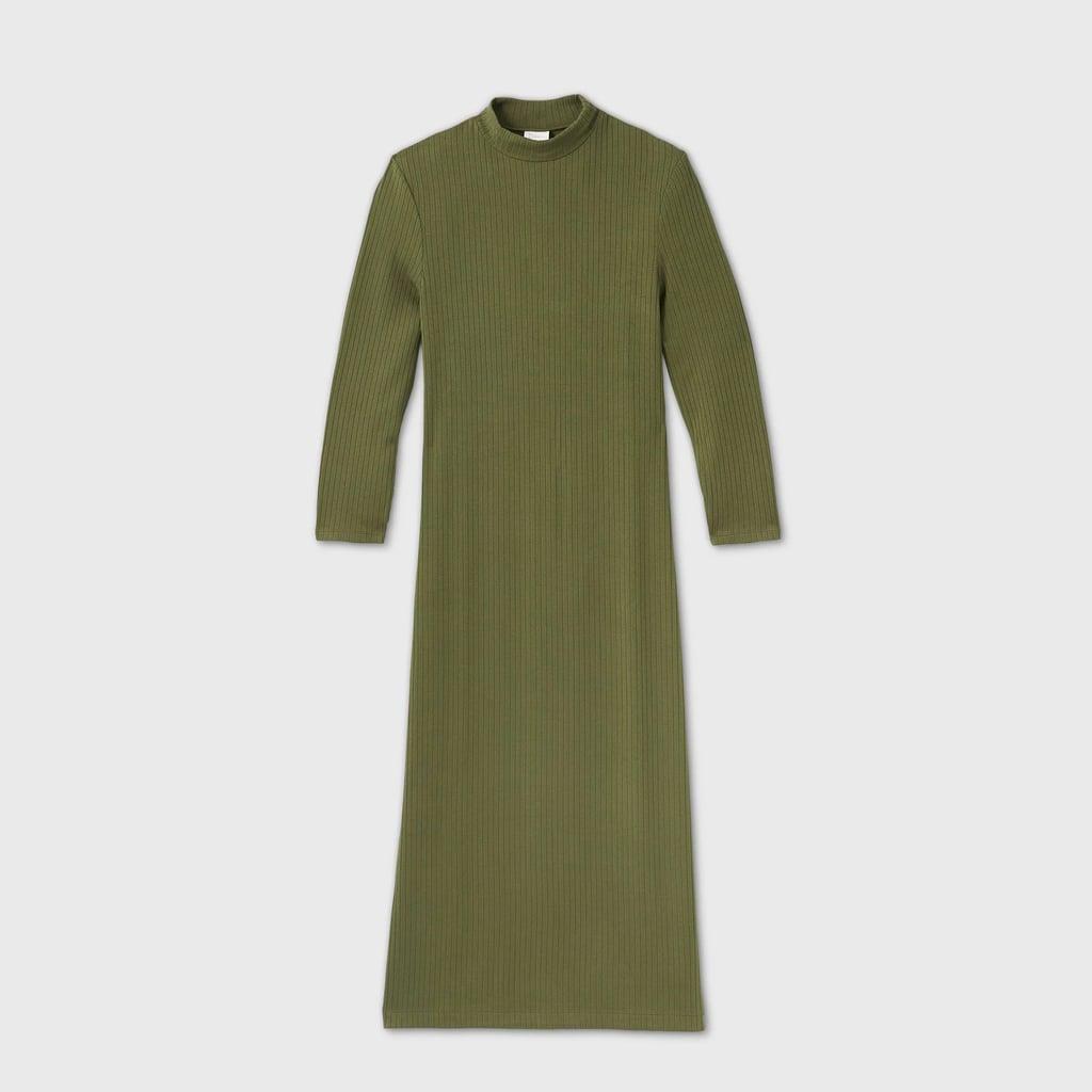Long Sleeve Rib Knit Dress