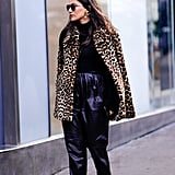 Style Your Leopard-Print Coat With: A Black Turtleneck, Leather Pants, and Pumps