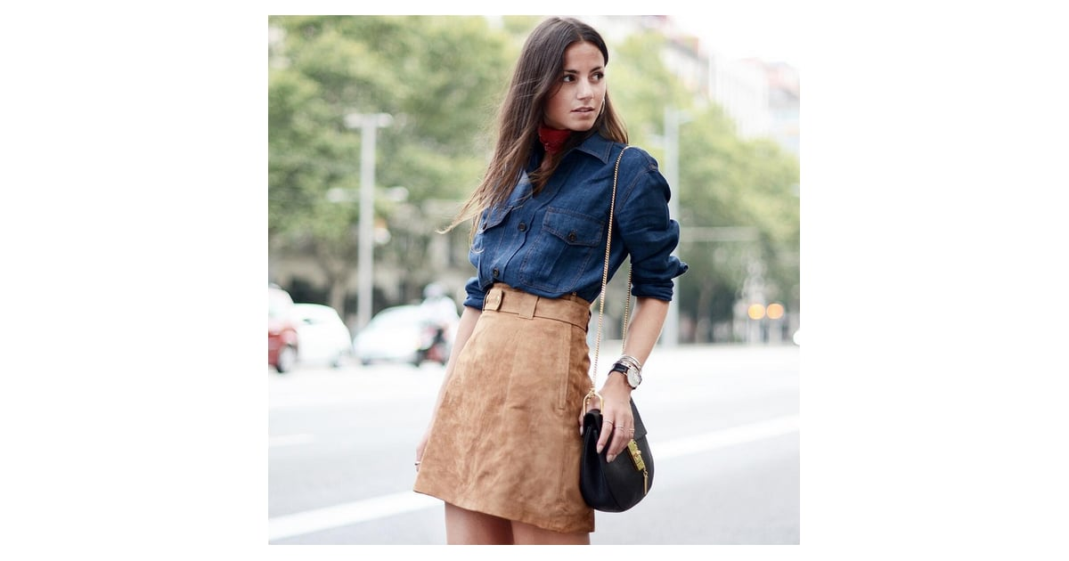 denim top and suede skirt easy work ideas
