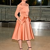 Juliette Lewis was surprisingly dainty in a creamsicle satin Zac Posen fit-and-flare dress.