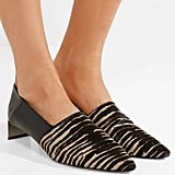 Loewe Tiger-Print Pony Hair and Leather Collapsible Heel Pumps