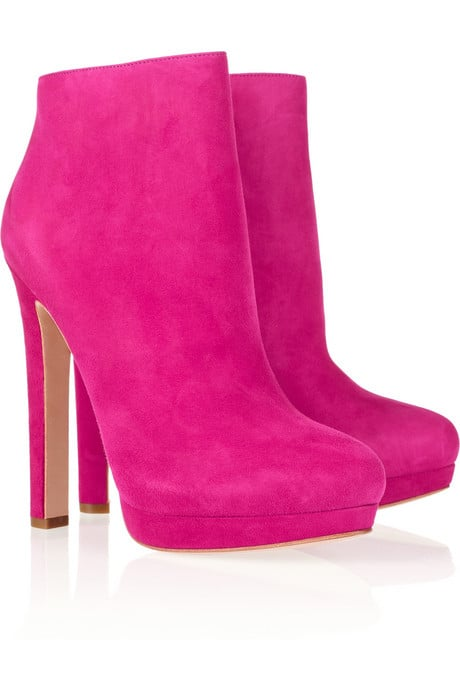 Alexander McQueen Hot Pink Suede Ankle Boots ($1,075)