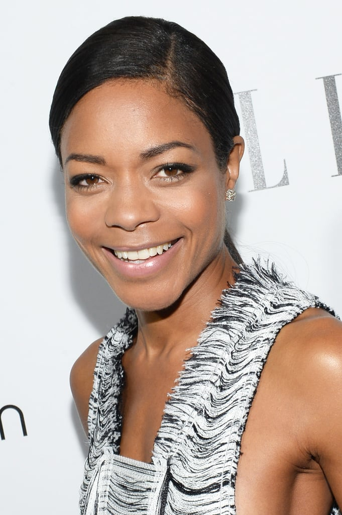 With her glowing complexion, Naomie Harris could skip makeup altogether, but she went with a barely-there look last night, which she paired with an elegant low ponytail.