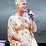 Pink serenaded the audience at unite4:humanity's party.