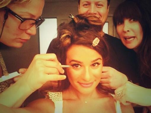 Lea Michele snapped a photo of her glam squad while getting prepped for a photo shoot. Source: Twitter user msleamichele