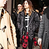 Jared Leo looked very stylish when he left Jeremy Scott's show.