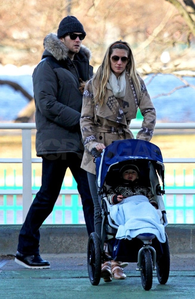 """Tom Brady joined his son Benjamin and wife Gisele Bundchen on a visit to their favorite Boston park yesterday. The all-star quarterback finished out his regular season play on Sunday with a Patriots 49-21 win over the Buffalo Bills. The victory gave Tom's team the top spot in the AFC and home-field advantage in the upcoming playoffs. Tom has a week off before taking the field against once again in postseason play.  Meanwhile, Gisele has high hopes for 2012. The supermodel left a Facebook message on New Year's Eve saying, """"I hope we can each make changes that will enhance and bring peace to the world. We have the power to shape our reality and lead by example. I wish you all a 2012 filled with love and light."""" Things are already looking up for the bicoastal family as Tom and Gisele's multimillion-dollar LA mansion is nearly complete."""