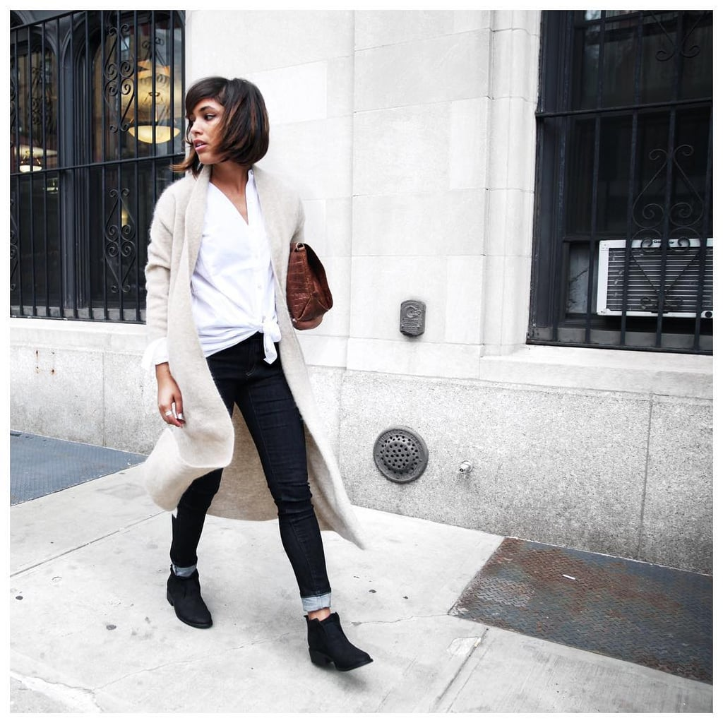 A White Button-Front Top, Cuffed Jeans, a Long Cardigan, and Booties