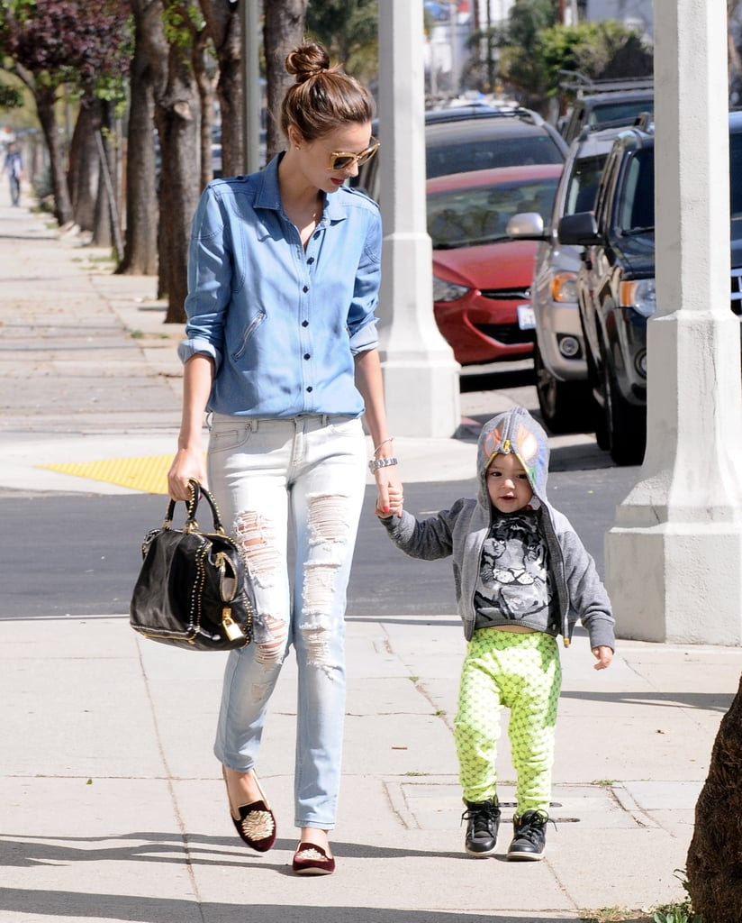 Miranda Kerr held hands with her 2-year-old son, Flynn Bloom.