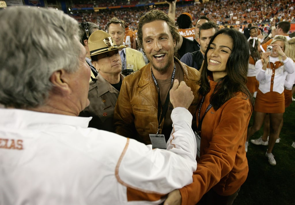 Matthew McConaughey and Camila Alves watched a Texas Longhorn game in Arizona in January 2009.