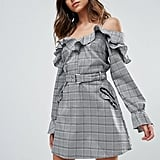 Missguided Check Frill Cold-Shoulder Dress