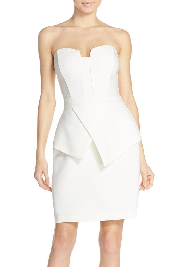 0a63e48e Adelyn Rae Strapless Peplum Sheath Dress ($92) | Best White Dresses ...