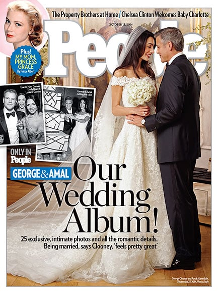 """George Clooney and Amal Alamuddin got married in Venice, Italy, over the weekend, and now they've shared their official wedding album! Amal's wedding gown takes center stage on People's cover stateside and Hello! magazine internationally. The bride wore Oscar de la Renta, while George was decked out in Giorgio Armani. For the party, which was attended by their star-studded guest list including Anna Wintour, Matt Damon, Bono, Bill Murray, and more, Amal changed into a gorgeous beaded dress. In typical Clooney fashion, George had the perfect words for what he and Amal are most excited to experience together in married life, """"We're looking forward to everything."""""""
