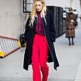 Embellished Red Trousers