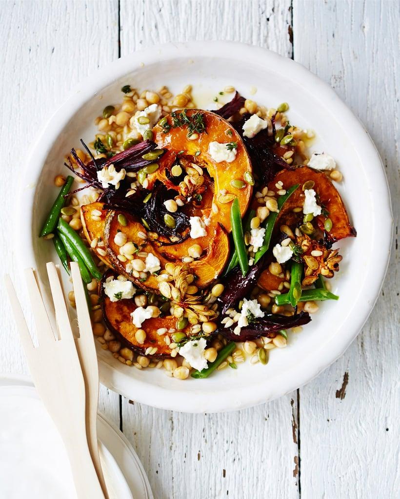 Roasted Pumpkin, Beet, Chickpea, and Barley Salad
