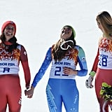 They laughed it up with Switzerland's Lara Gut, who earned the bronze.