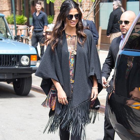 Camila Alves Wearing a Wool Shawl