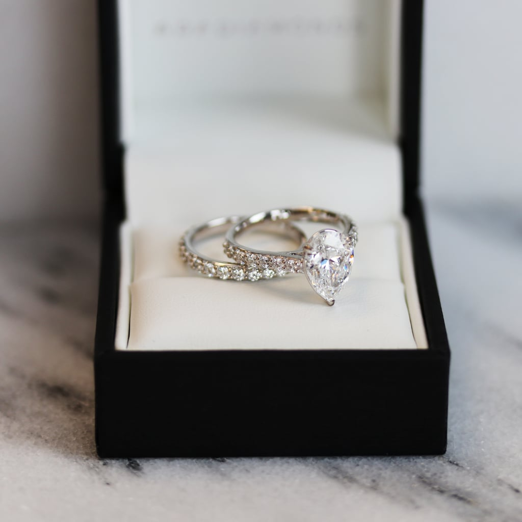 Pear Surface Prong Pavé Solitaire With Matching Band by Ada Diamonds