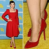 Ginnifer Goodwin went for double drama in a red-on-red look — scalloped Valentino with spiked Christian Louboutin, to be exact.