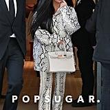 Kim Kardashian's Python-Print Gucci Leather Pants in Paris