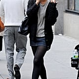 Katie Holmes talked on the phone while out in NYC.