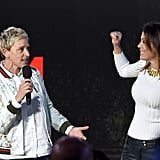 Ellen DeGeneres and Bethenny Frankel speaking on stage in Los Angeles.