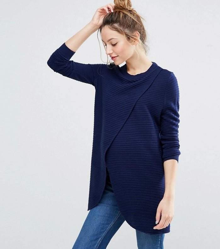 571f1fb87163b Nursing Wrap Over Sweater in Textured Stripe | Best ASOS Maternity ...