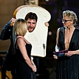 Elisha Cuthbert, Adam Pally, and Eliza Coupe presented an award at the Comedy Awards in NYC.