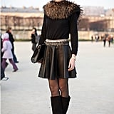 "Fur and baroque-tinged jewels make this perforated skirt — spotted during Fall 2011 Paris Fashion Week — look elegant.  Shop the look: <iframe src=""http://widget.shopstyle.com/widget?pid=uid5121-1693761-41&look=4084986&width=3&height=3&layouttype=0&border=0&footer=0"" frameborder=""0"" height=""244"" scrolling=""no"" width=""286""></iframe> Photo Courtesy  of Phil Oh"
