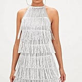 PrettyLittleThing Silver Tassel Detail Halterneck Bodycon Dress