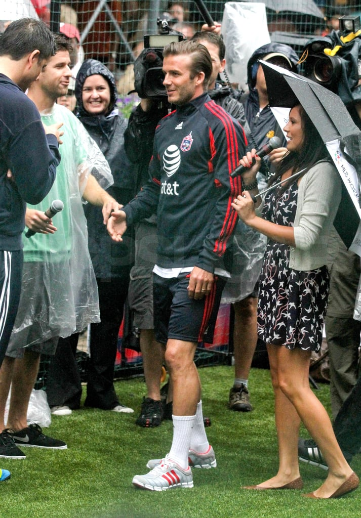 David Beckham joined his MLS All-Star teammates in NYC yesterday to attempt to set a Guinness world record for the most consecutive penalty kicks. He, along with other soccer stars like Thierry Henry, Juan Agudelo, and Kyle Beckerman, scored 742 goals and demolished the previous record of 525 set during the Women's World Cup! David was fresh off an interview on Good Morning America, where he said the Beckham boys are obsessed with their sister, Harper Seven. David's working on the East Coast after a few weeks with family in Malibu, where he's taken up surfing and boogie boarding with his sons. He'll be back on the field in New Jersey tomorrow for the all-star game, facing off against his former teammates at Manchester United.