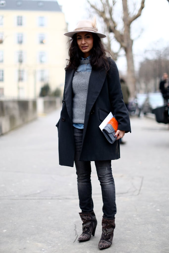 A lesson in simplified layers and the best kind of add-ons, like a pair of studded boots and a fedora.