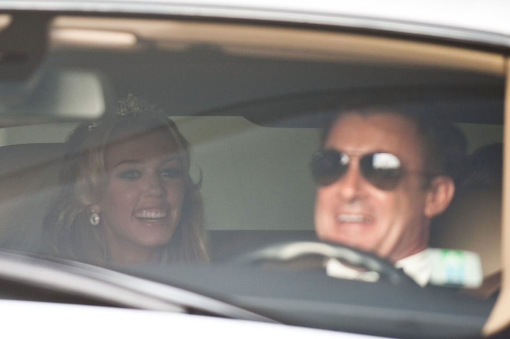 Petra rode with her father in the back of a white Rolls-Royce.