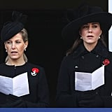 Kate attended Remembrance Sunday services with Sophie, Countess of Wessex.