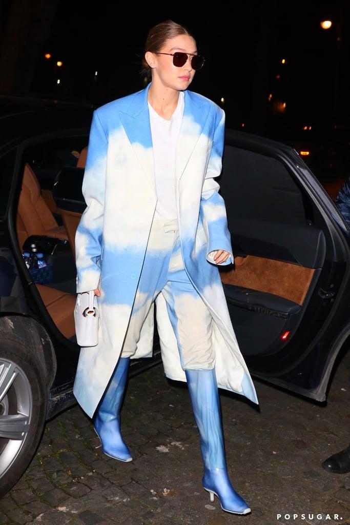 Gigi Hadid Wearing a Louis Vuitton Cloud-Print Suit in Paris