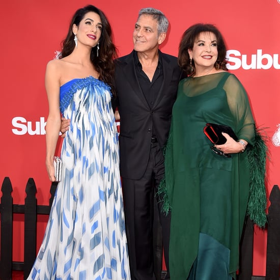 George and Amal Clooney With Amal's Mom on Red Carpet