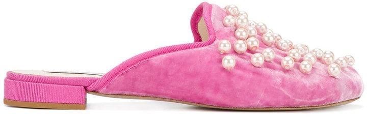 Natasha Zinko pearl embellished slippers ($823)